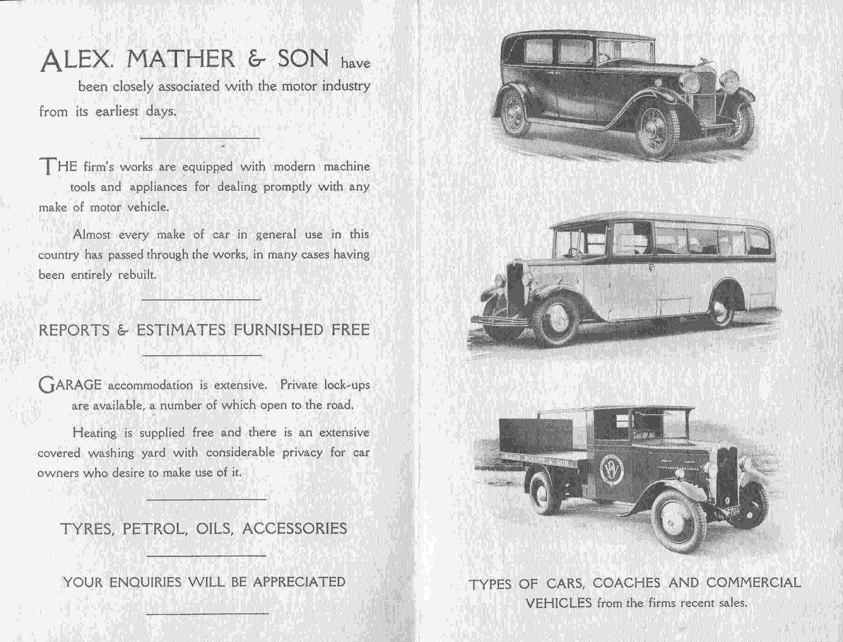 Alex Mather & Son Services Leaflet c.1930