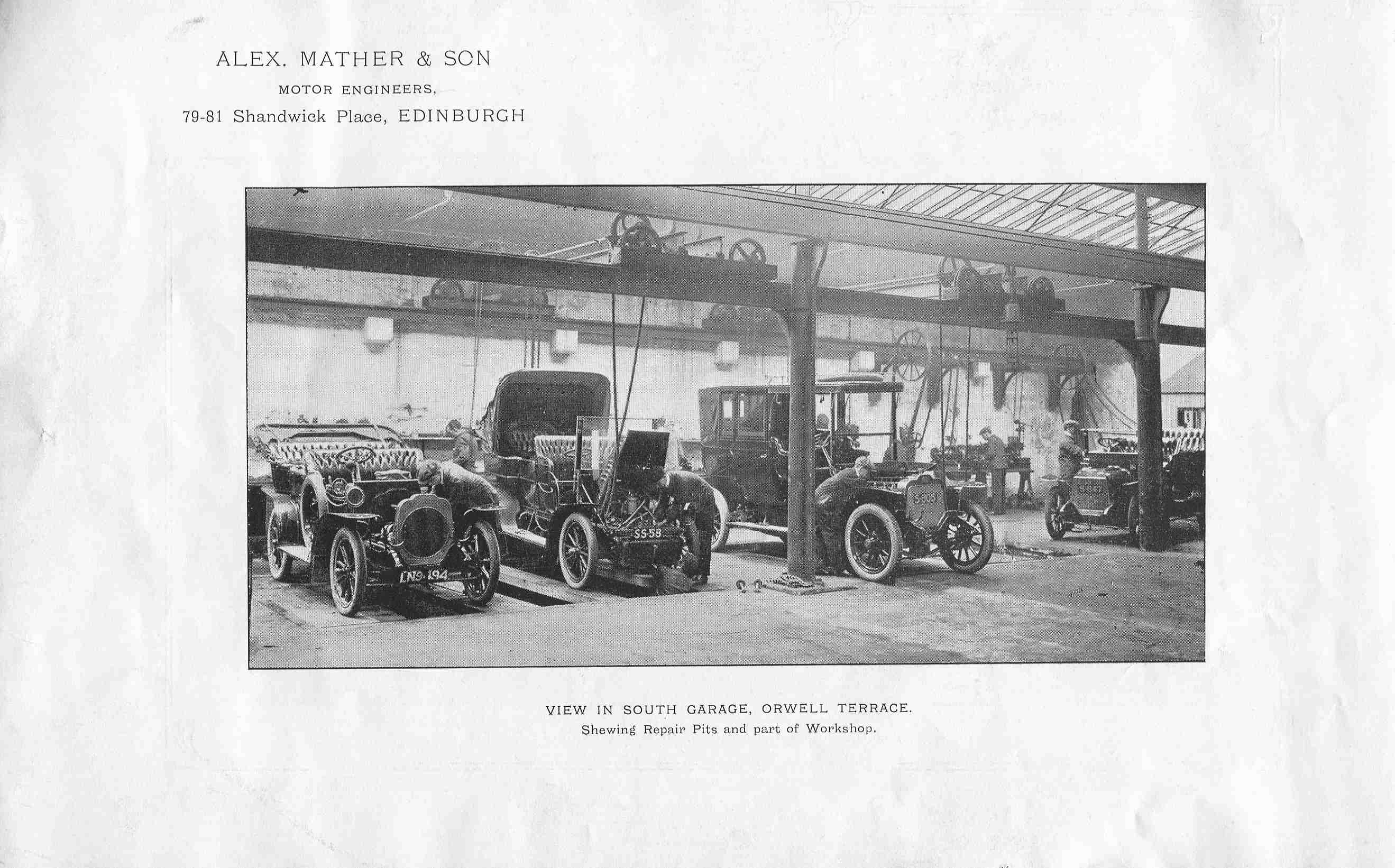 Alex Mather & Son, View In South Garage, Orwell Terrace 1920s