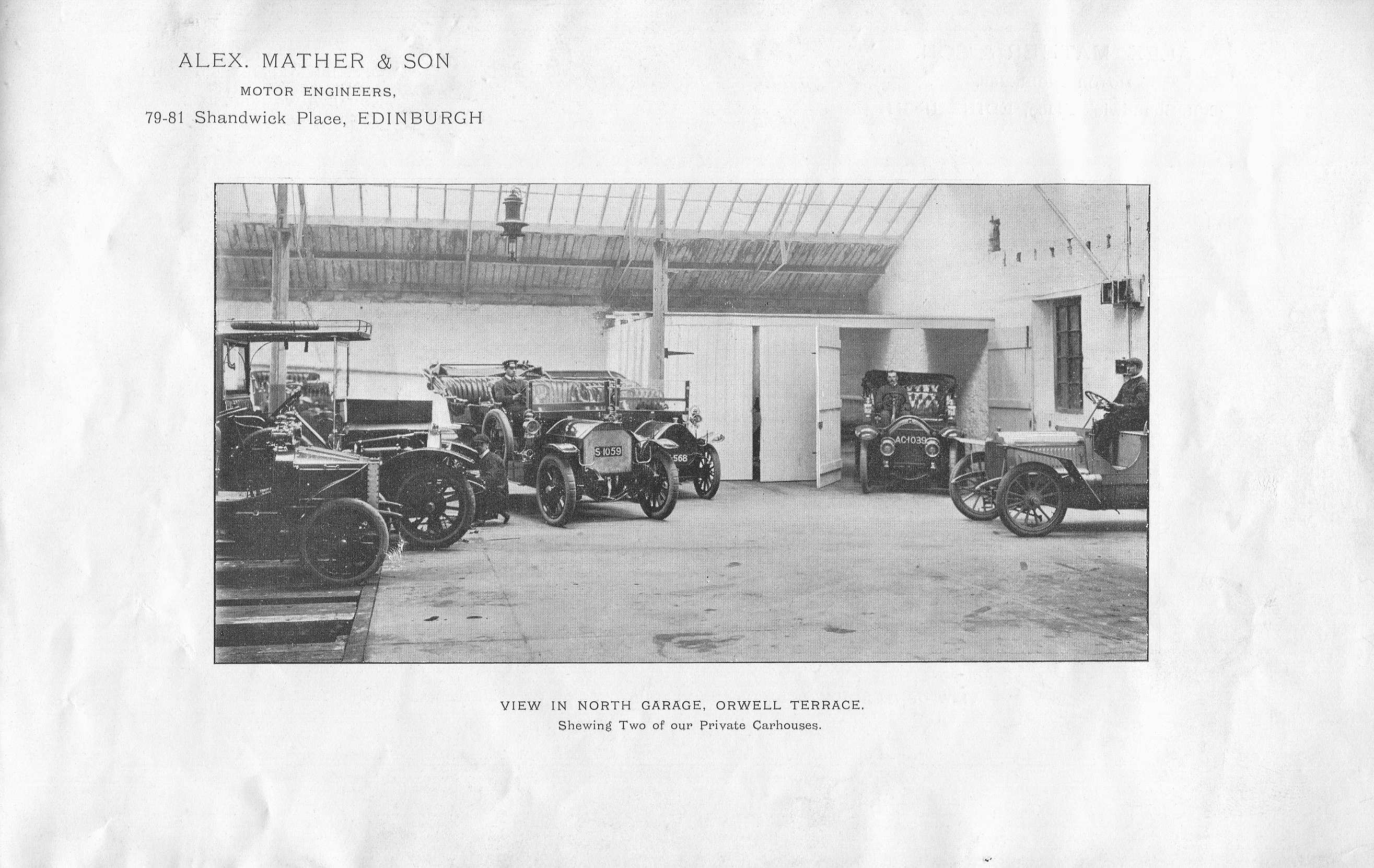 Alex Mather & Son, View In North Garage, Orwell Terrace 1920s