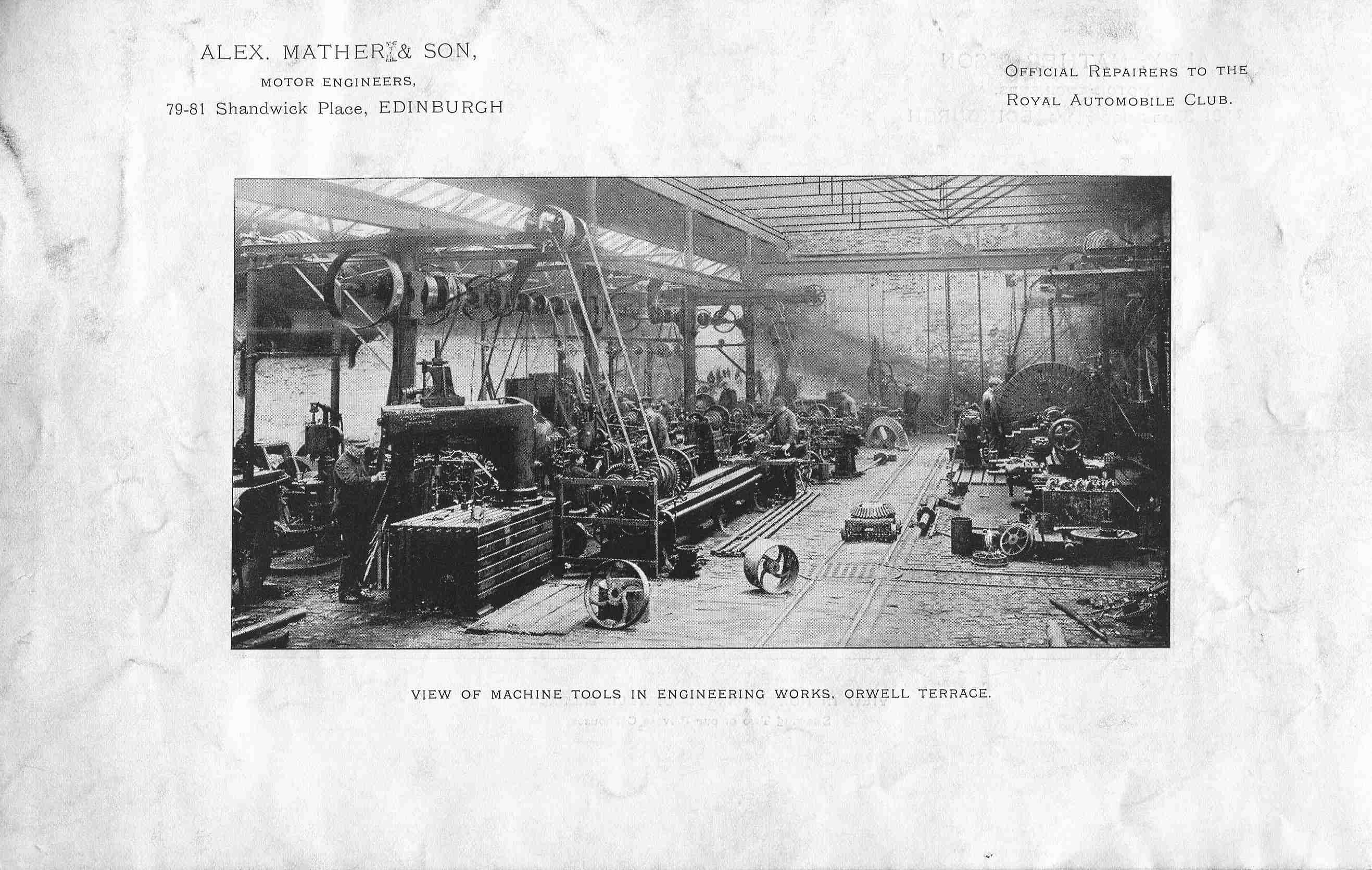 Alex Mather & Son, View Of Machine Tools In Engineering Works, Orwell Terrace 1920s