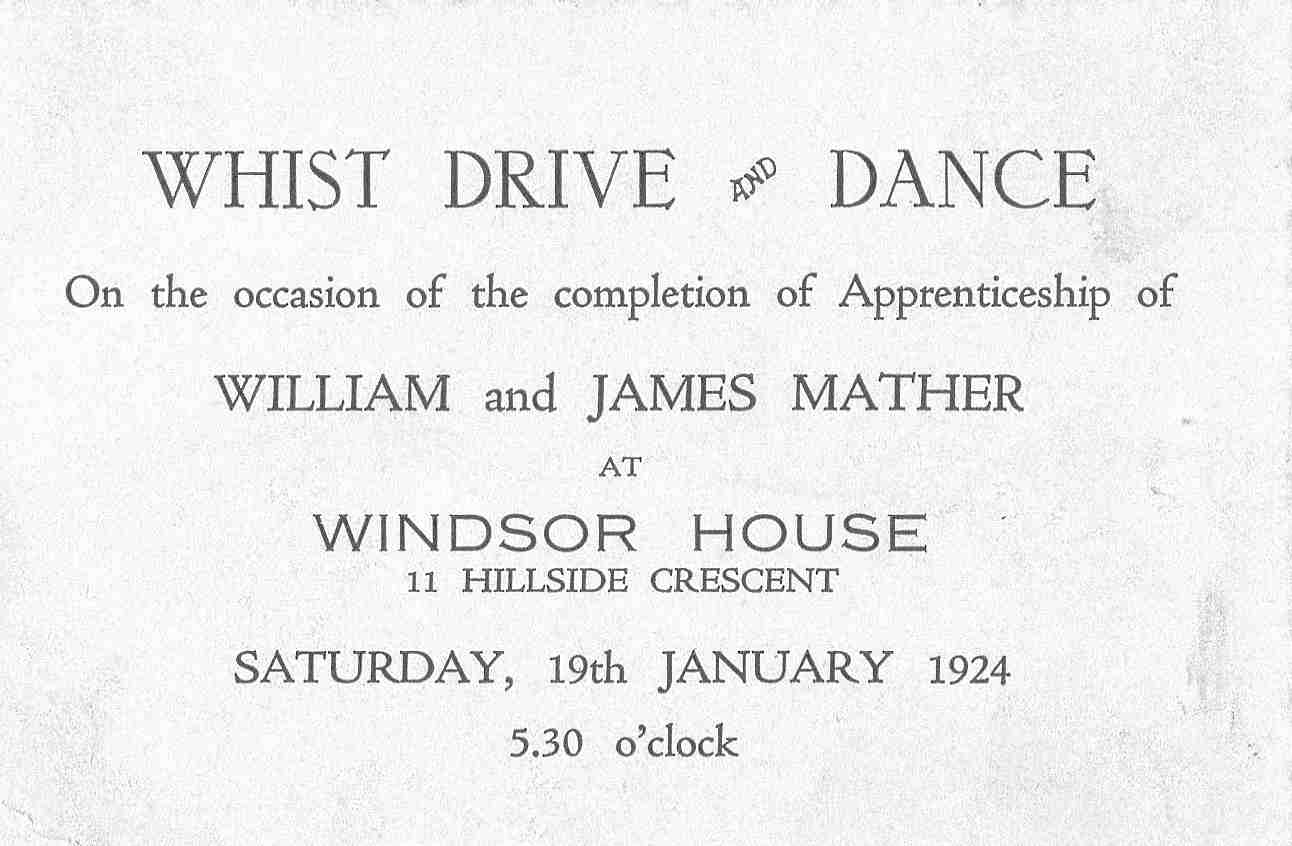 Whist Drive And Dance Invitation 19 Jan 1924