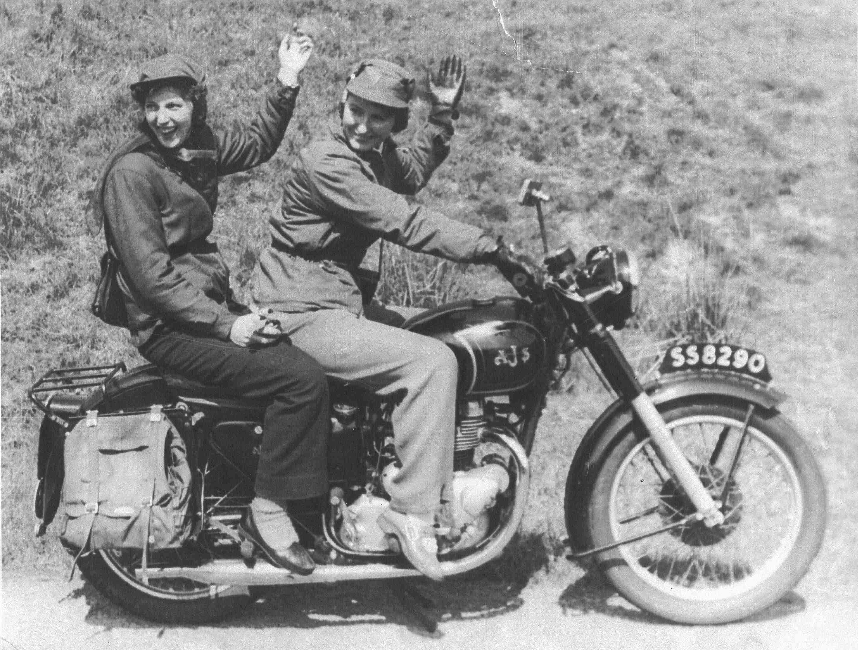 Two Women Riding Motorbike 1960s