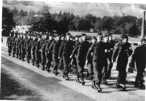 Soldiers Marching Along Road In The Borders 1939
