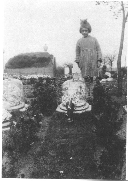 Young Girl Visiting The Grave Of Her Sister At Rosebank Cemetery 1920s