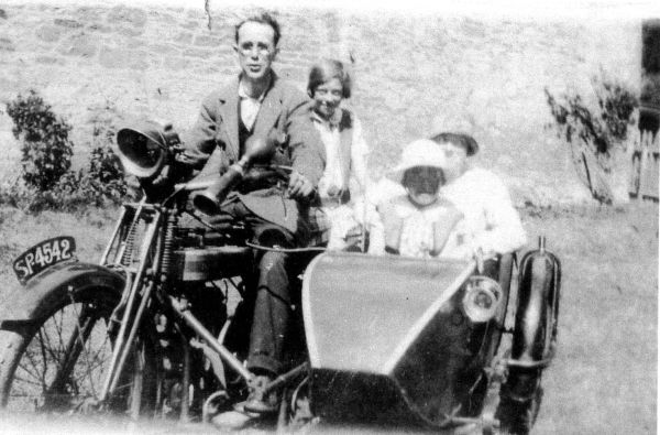 Family Outing On Motorbike And Sidecar, early 1930s