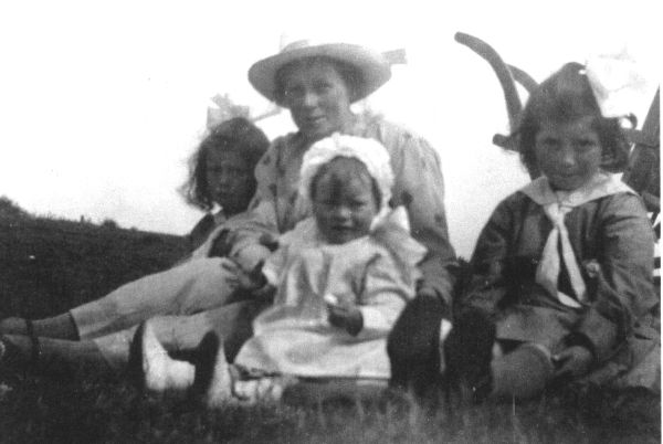 Mother With Daughters Sitting In The Park 1920