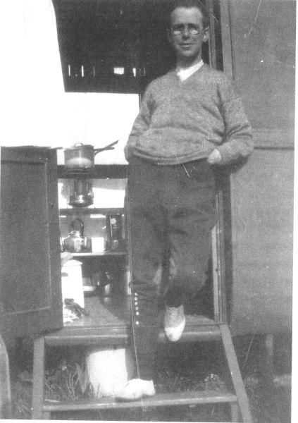 Man Leaning By Door Of Caravan 1930s