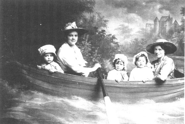 Studio Portrait Women And Children In Boat c.1900