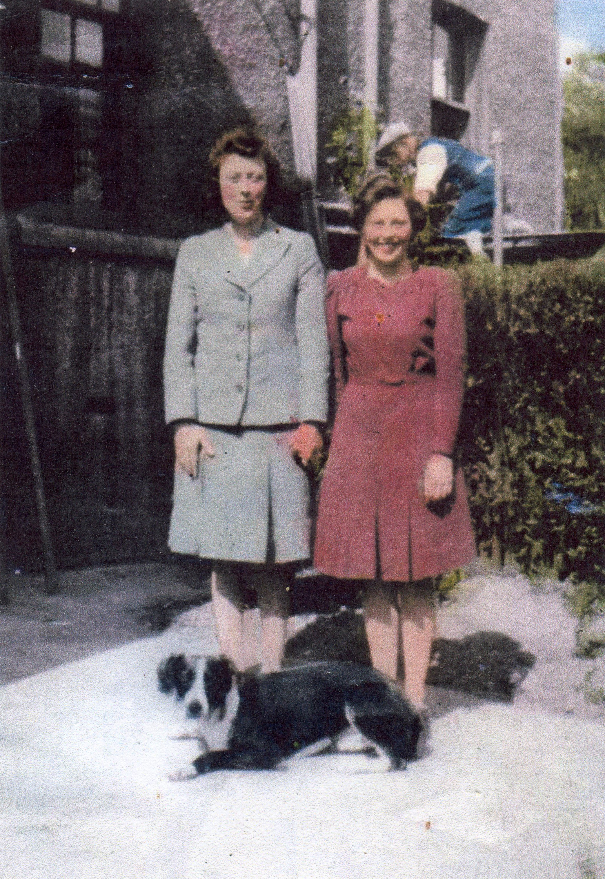 Two Women Standing With Dog In A Back Garden At Restalrig Gardens, mid-1930s