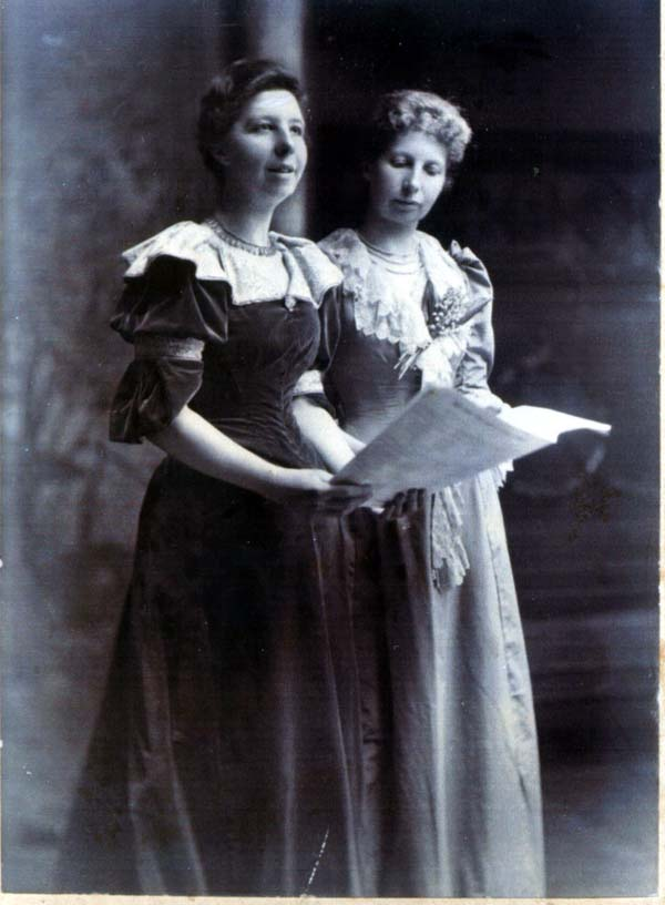 Studio Portrait Two Sisters Singing  c.1900