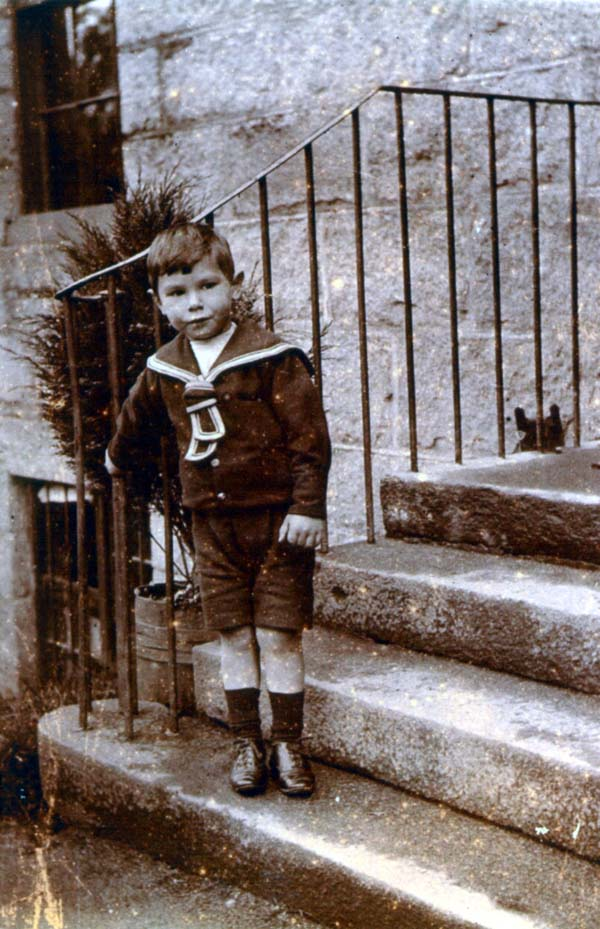 Boy In Sailor Suit Standing On Steps c.1900