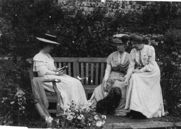Three Ladies Relaxing In The Walled Garden At South Bantaskine c.1900