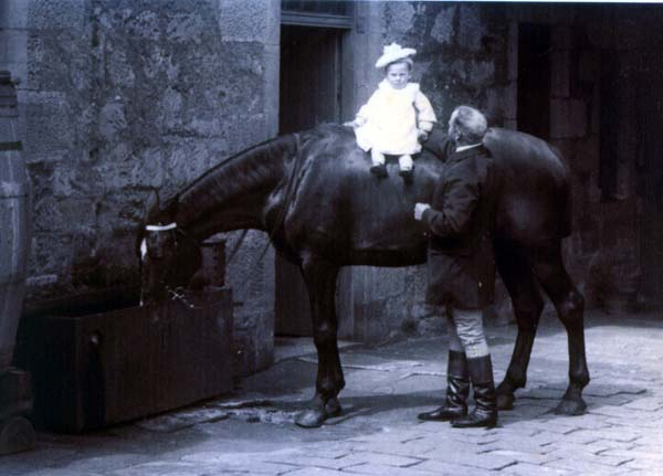 Young Boy Sitting Atop Horse Outside Stables At South Bantaskine c.1900