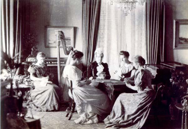 Ladies Playing Bridge In Drawing Room At South Bantaskine c.1890