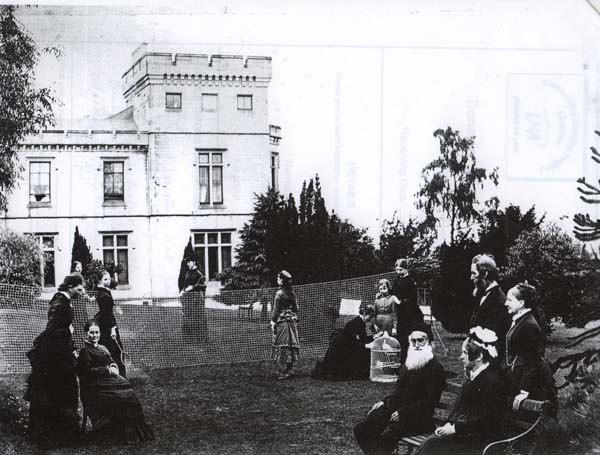 Family Game of Badminton On The Side Lawn At South Bantaskine c.1880