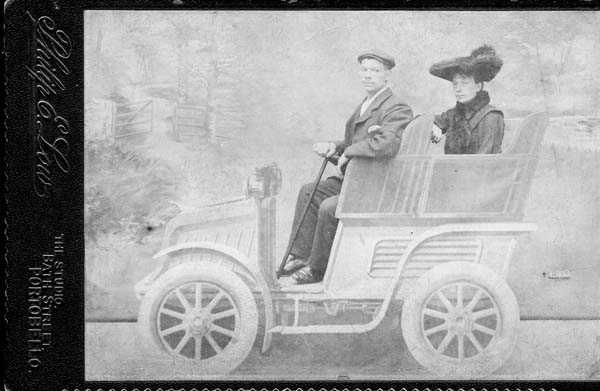 Studio Portrait Husband And Wife In Motor Car 1898