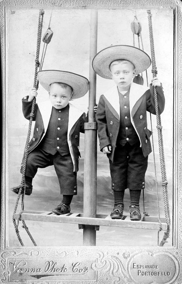Studio Portrait Two Young Boys Standing On Mast c.1908