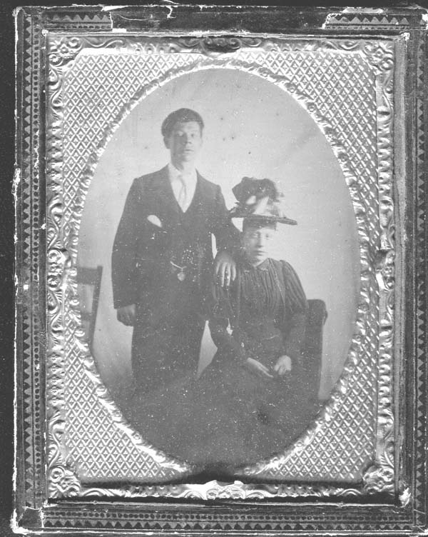 Studio Portrait Young Couple In Frame c.1898