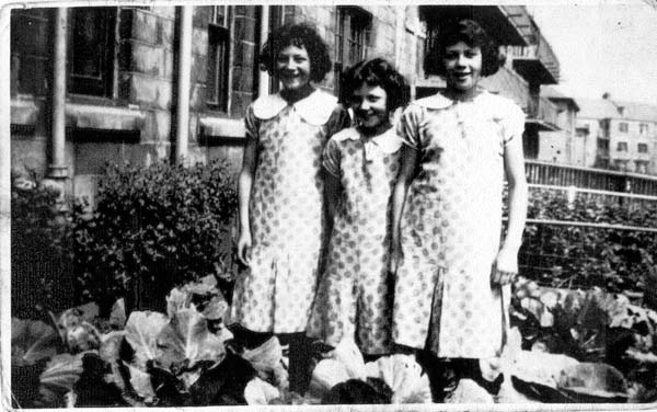 Three Sisters Standing In The Back Garden Vegetable Plot 1933
