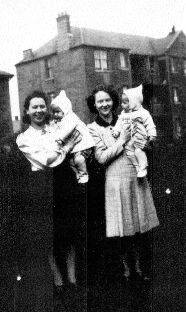 Two Sisters With Their Babies Standing In Garden At Lochend Avenue 1947