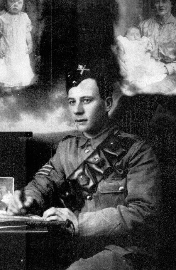 Studio Portrait Sergeant Writing At Desk c.1916