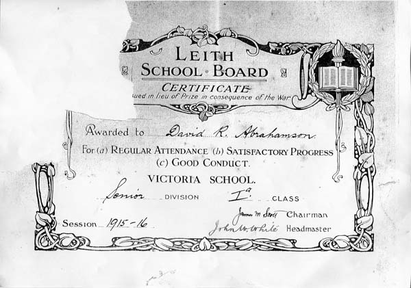 Leith School Board Certificate Awarded To Pupil At Victoria School, Newhaven 1916