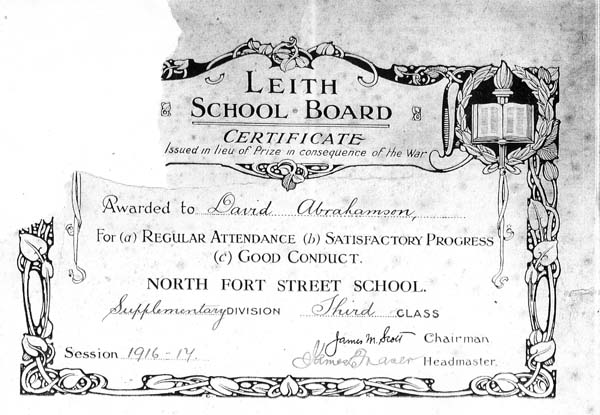 Leith School Board Certificate Awarded To Pupil At North Fort Street School 1917