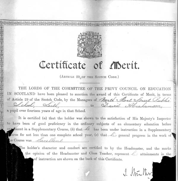 Certificate of Merit Awarded To Pupil At North Fort Street School 1918