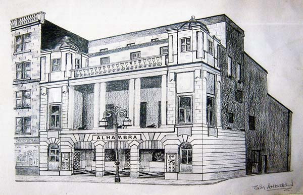 Sketch Of The Alhambra Cinema Leith Walk c.1955