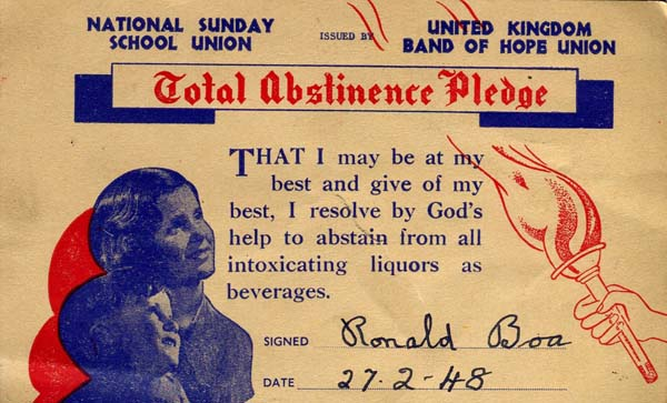 Sunday School Pledge Of Abstinence 1948