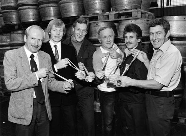 Marathon Runners From Tennents Caledonian Brewery With Their Medals 1983
