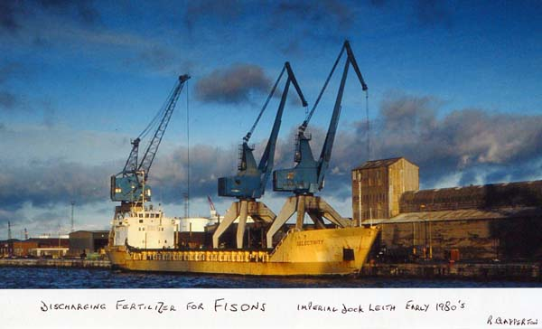 Discharging Fertiliser At Leith Docks 1980s