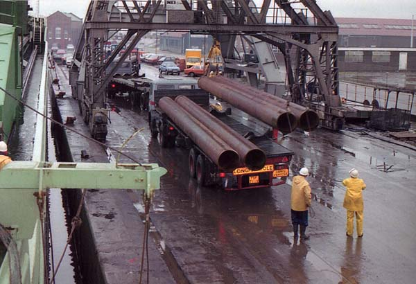 Offloading Pipes For The Oil Industry At Leith Docks 1989