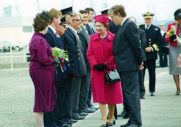 The Queen with Chairman of Forth Ports Meeting the Staff 27 June 1988