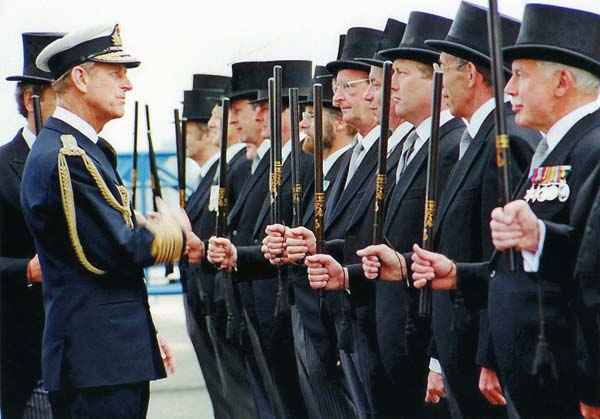 Duke Of Edinburgh Inspects The Leith High Constables At Leith Docks, 27 June 1988