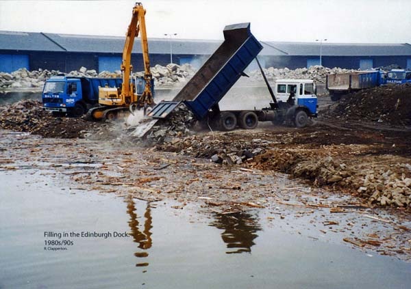 Filling In Edinburgh Dock At Leith Docks c.1990