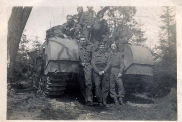 Soldiers Standing by Tank 1940s