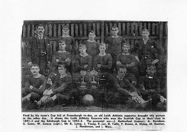 Leith Athletic Football Club c.1891