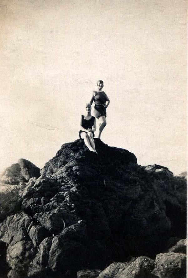 Two Women In Bathing Costumes On Rock c.1929