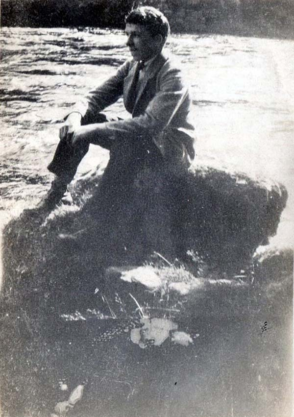 Young Man Sitting On Rock By The River Dee 1923