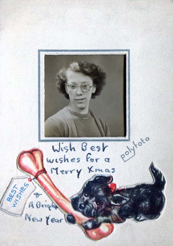 Personalised Christmas Greetings Card With Portrait 1940s