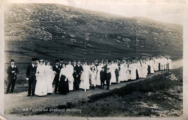 Postcard Old Fashioned Shetland Wedding c.1900