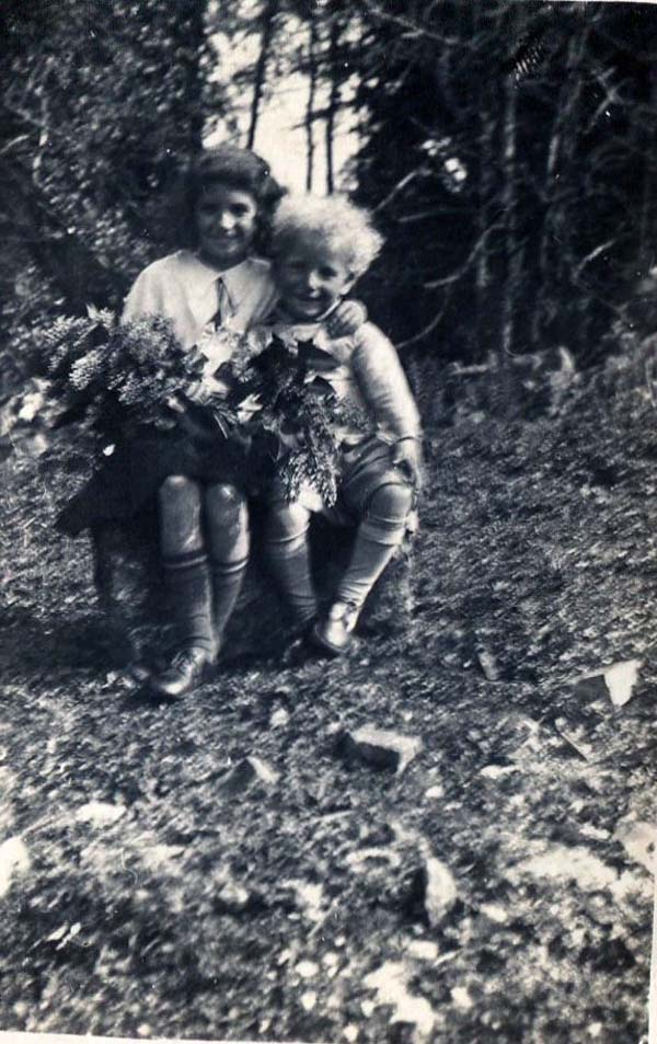 Two Children Gathering Foliage 1930s