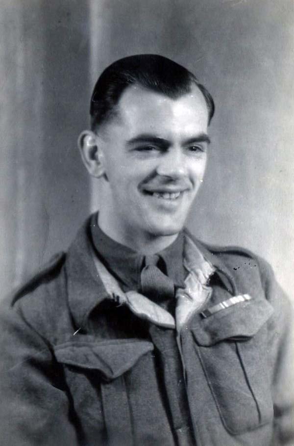 Studio Portrait Smiling Soldier 1940s