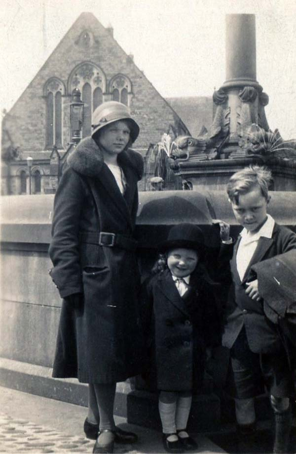 Woman And Children Standing By Fountain c.1930