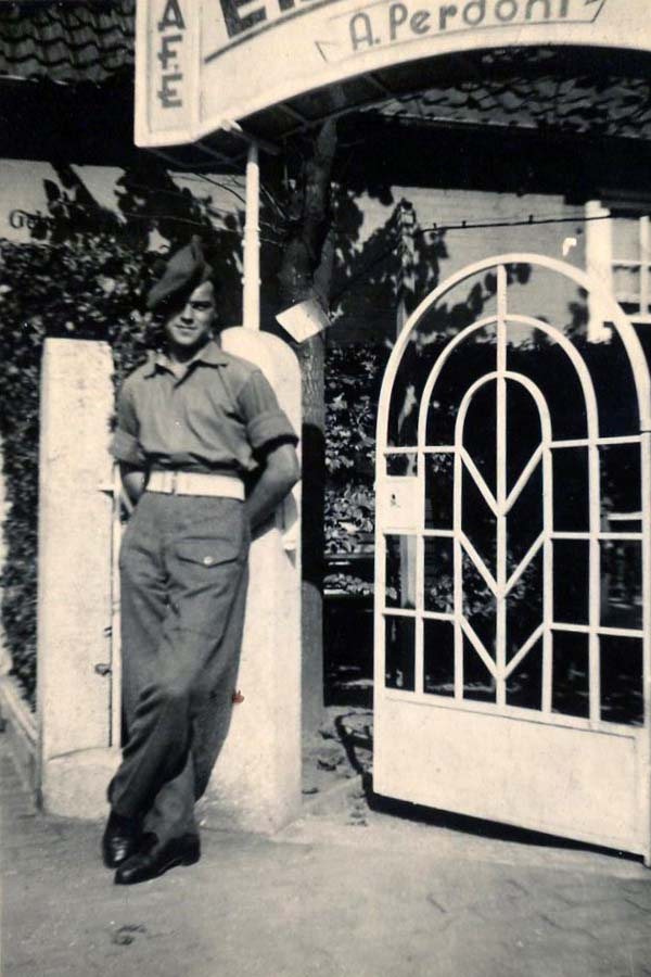 Soldier Off Duty Standing Outside Cafe 1940s