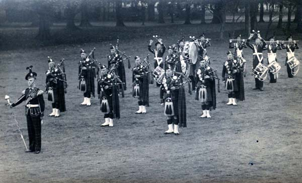 Pipe Band Playing In The Park 1940s