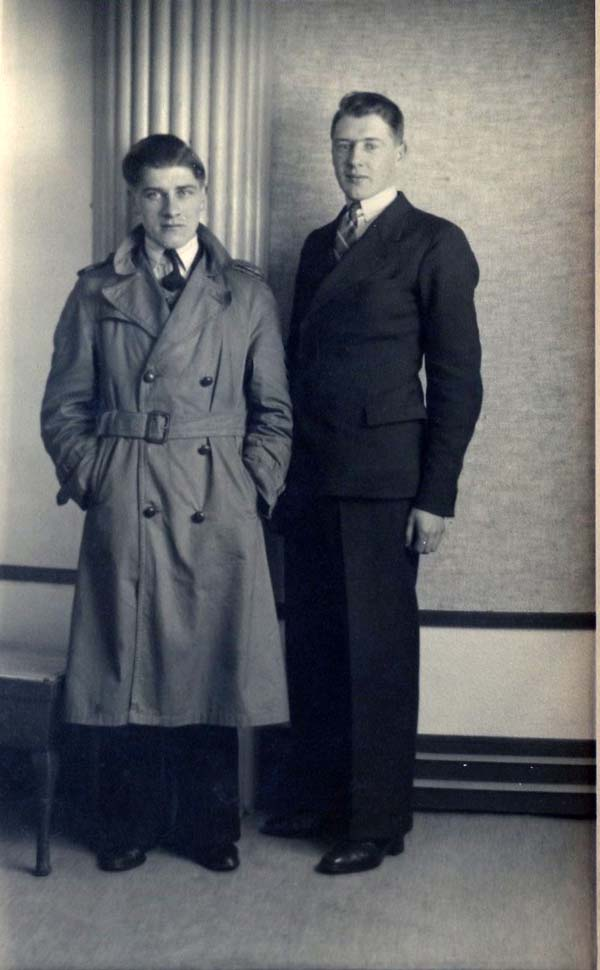 Studio Portrait Two Men Standing Tall, 19 March 1933