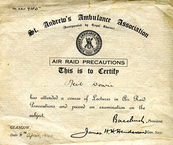 St Andrew's Ambulance Association Air Raid Precautions Certificate 1940