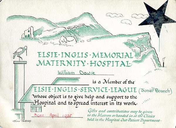 Elsie Inglis Service League Member Certificate 1935